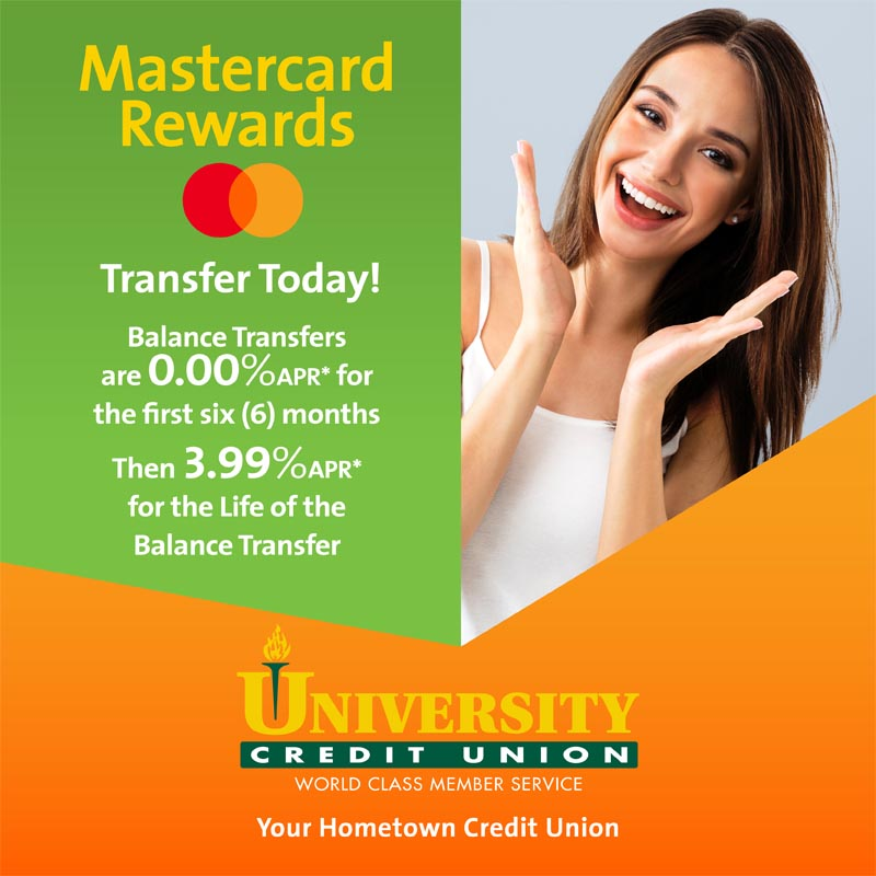 Balance Transfers are 0.00% for first six months and 3.99% for the life of Balance Transfer