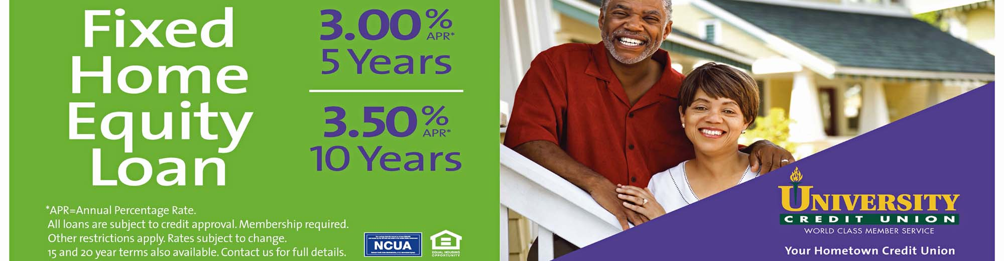 University Credit Union Home Equity Line of Credit currently as low as 3.00% APR